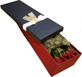 Red roses placed in a box